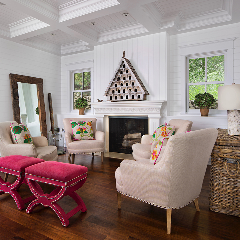 fireplace sitting room with beadboard coffered ceiling