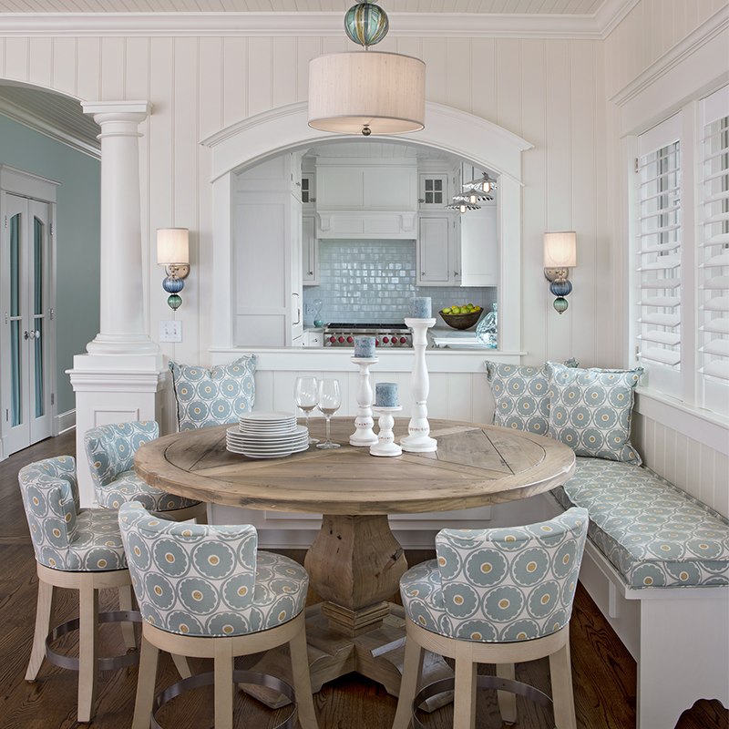 cozy dining area with built-in banquette seating