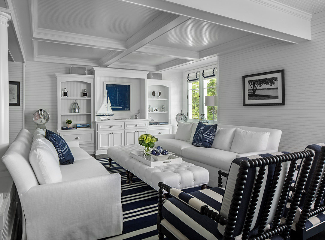 navy and white nautical cottage living room