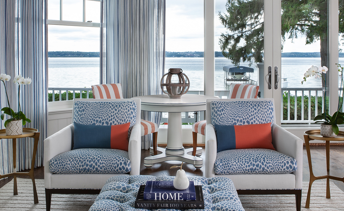 cottage style blue and white interior