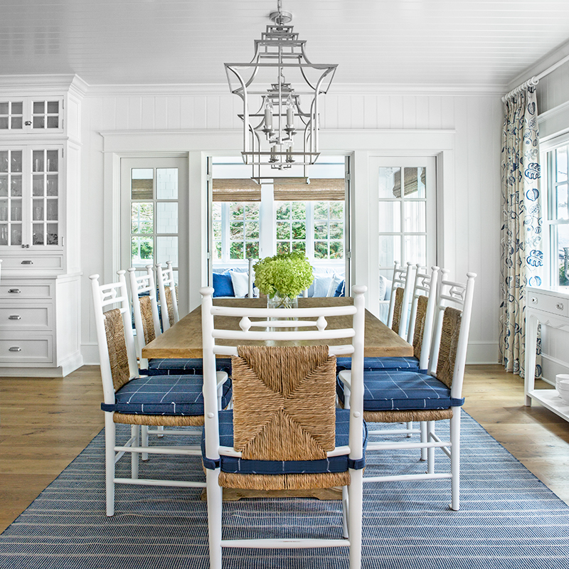 cottage dining room with pendants